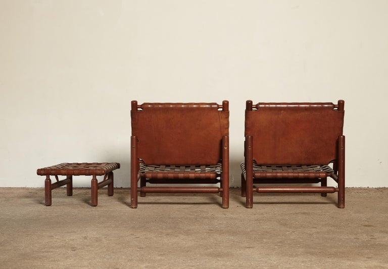 Leather Ilmari Tapiovaara Chairs and Ottoman, Finland or Italy, 1950s For Sale