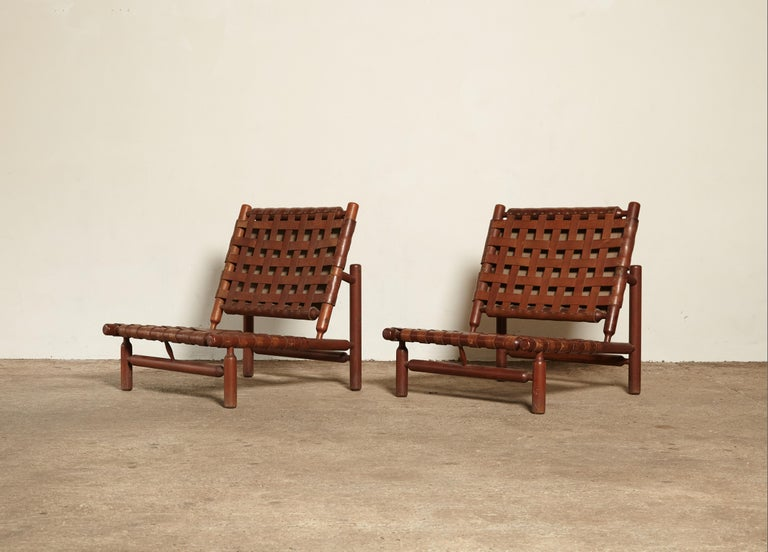 Ilmari Tapiovaara Chairs and Ottoman, Finland or Italy, 1950s For Sale 2