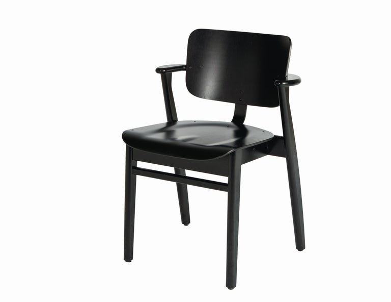 Ilmari Tapiovaara Domus Chair in Black Birch and Leather for Artek For Sale 12