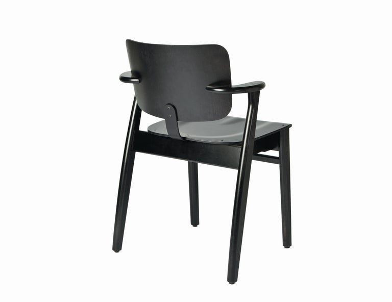Scandinavian Modern Ilmari Tapiovaara Domus Chair in Black Birch and Leather for Artek For Sale