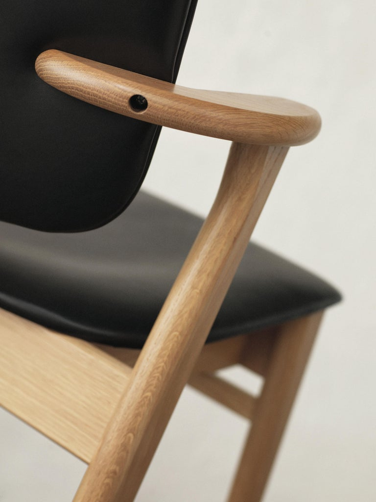 Stained Ilmari Tapiovaara Domus Chair in Black Birch and Leather for Artek For Sale