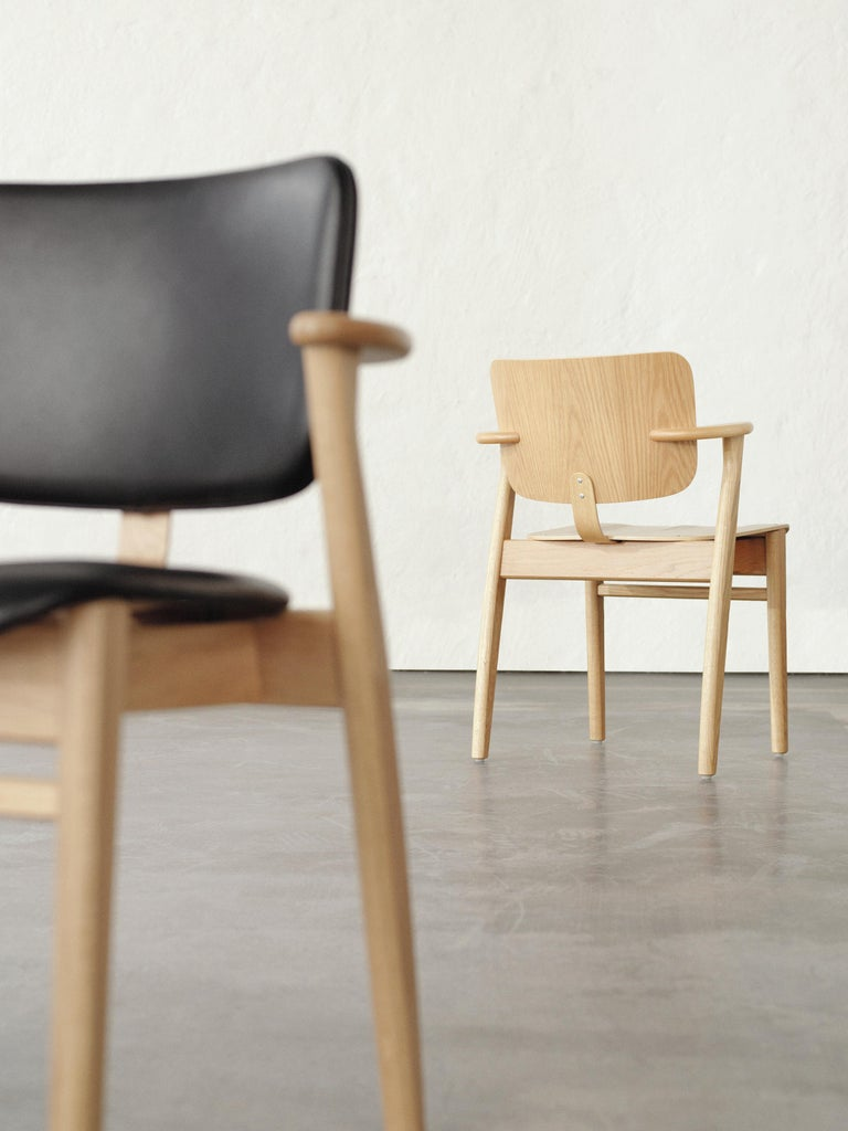 Contemporary Ilmari Tapiovaara Domus Chair in Black Birch and Leather for Artek For Sale