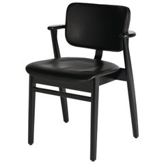 Ilmari Tapiovaara Domus Chair in Black Birch and Leather for Artek