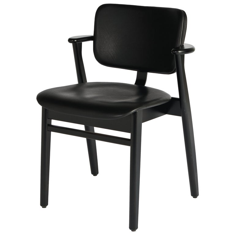 Ilmari Tapiovaara Domus Chair in Black Birch and Leather for Artek For Sale