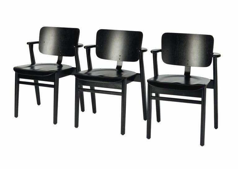 Finnish Ilmari Tapiovaara Domus Chair in Black Stained Birch for Artek For Sale