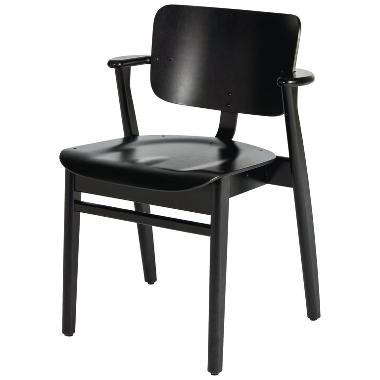 Ilmari Tapiovaara Domus Chair in Black Stained Birch for Artek For Sale