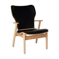 Ilmari Tapiovaara Domus Lounge Chair in Oak and Black Leather for Artek