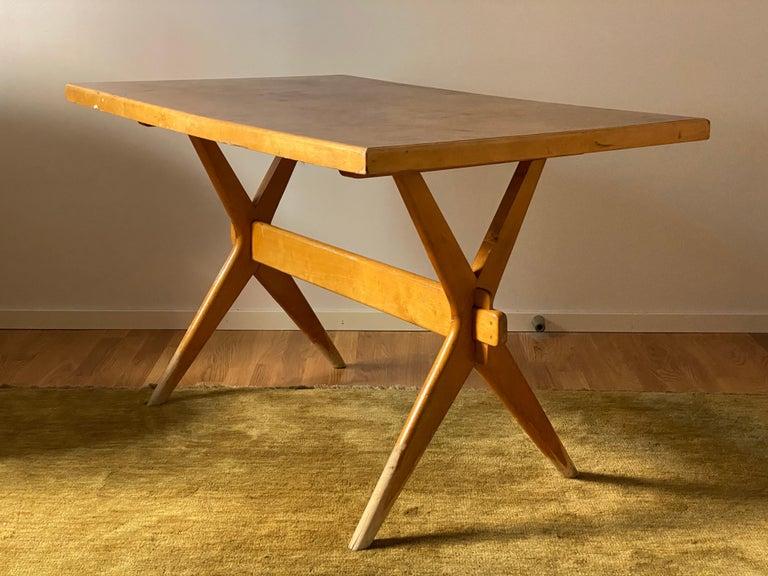 Mid-Century Modern Ilmari Tapiovaara, Early Demountable Desk or Console, Birch, Finland, 1950s For Sale