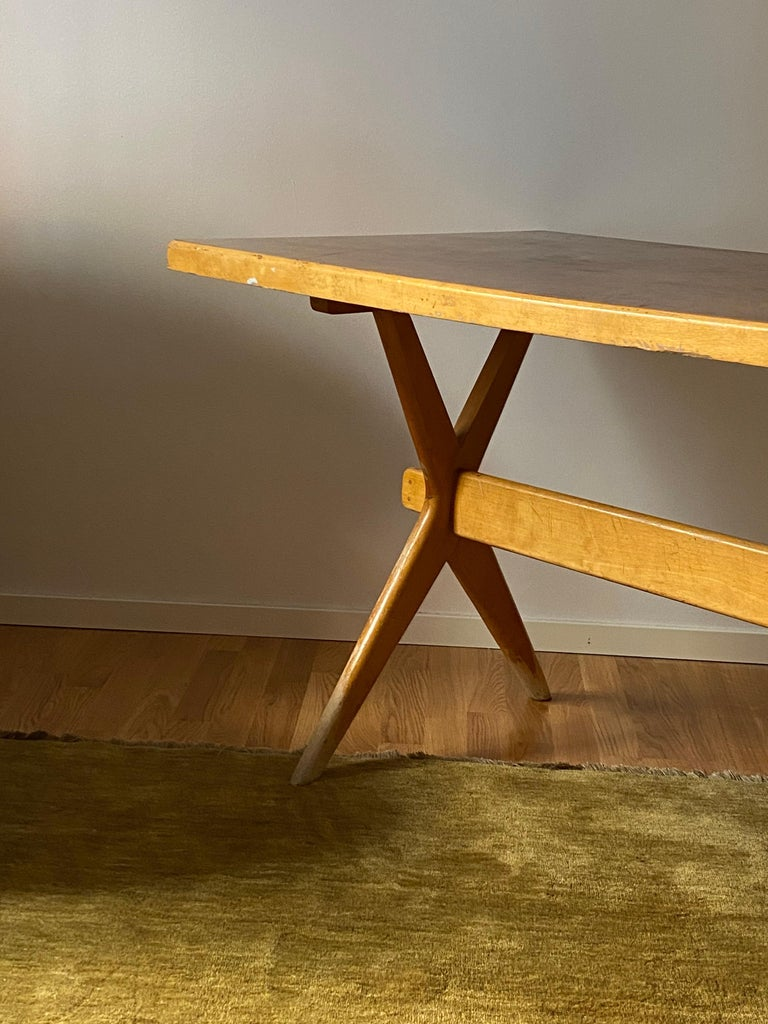 Ilmari Tapiovaara, Early Demountable Desk or Console, Birch, Finland, 1950s In Distressed Condition For Sale In West Palm Beach, FL