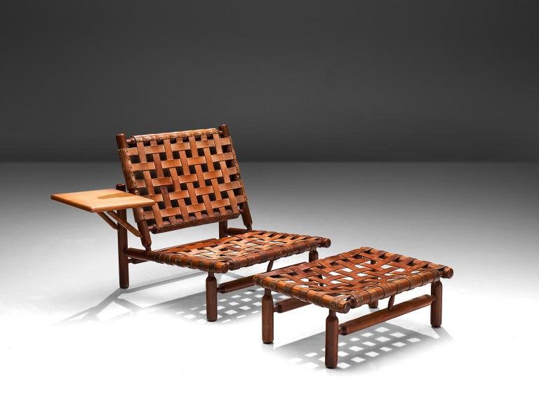 Scandinavian Modern Ilmari Tapiovaara Leather Lounge Chair and Ottoman with Velvet For Sale