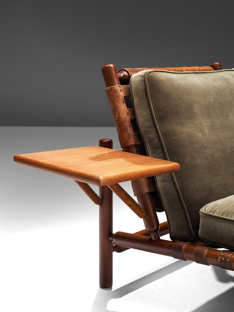 Mid-20th Century Ilmari Tapiovaara Leather Lounge Chair and Ottoman with Velvet For Sale