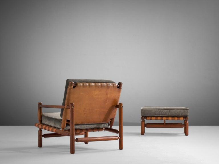 Brass Ilmari Tapiovaara Lounge Chair in Teak For Sale