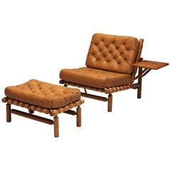 Ilmari Tapiovaara Lounge Chair with Ottoman in Cognac Leather