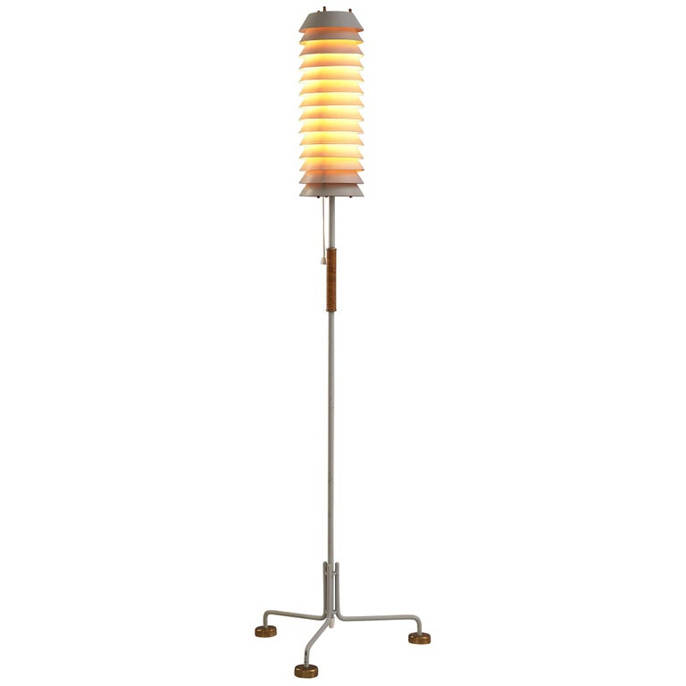 Ilmari Tapiovaara 'Maija the Bee' Floor Lamp with Brass Feet For Sale