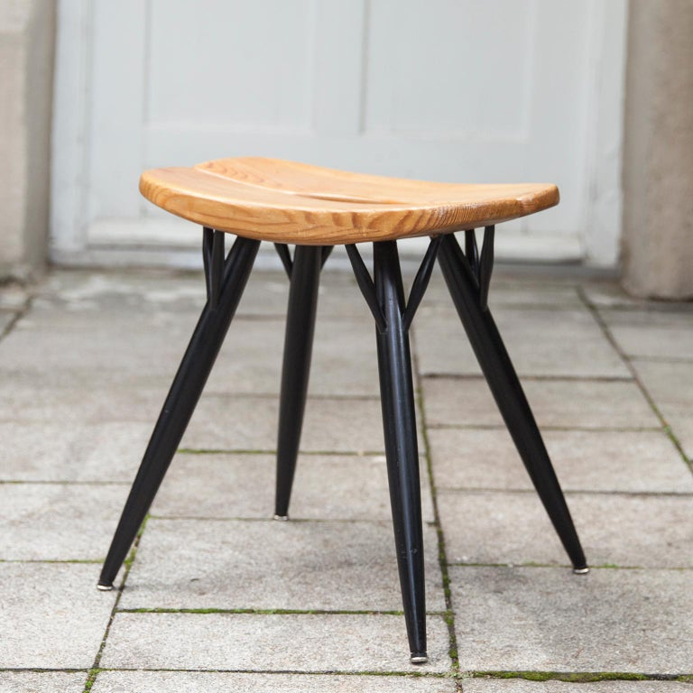 Ilmari Tapiovaara designed the Pirkka stool in the 1950s. The black legs and seats in oak result in a timeless finnish design. This Pirkka stool is made by Laukaan Puu in the 1950s.