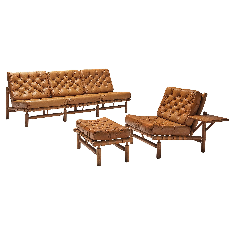 Ilmari Tapiovaara Sectional Sofa and Ottoman in Cognac Leather