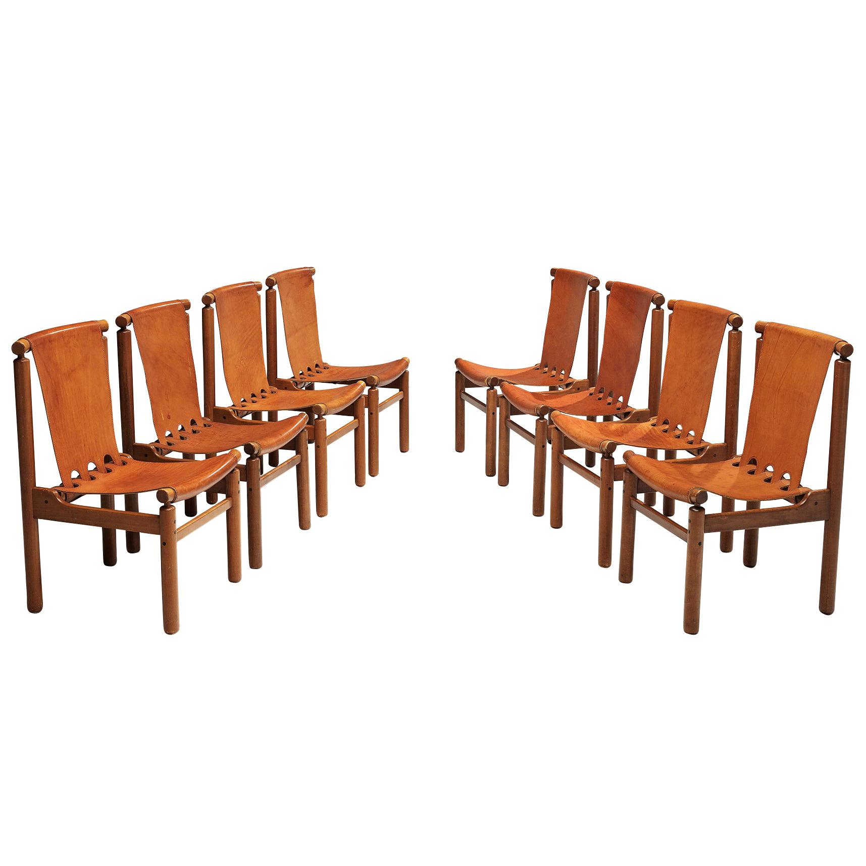 Ilmari Tapiovaara Set of Eight Dining Chairs in Cognac Leather