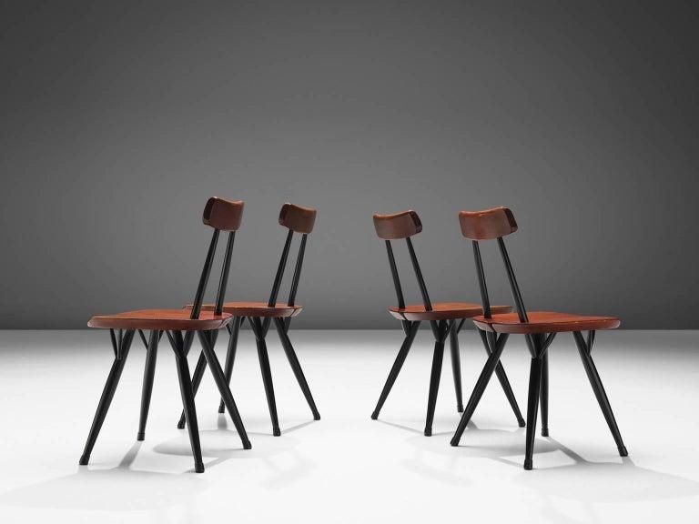 Scandinavian Modern Ilmari Tapiovaara Set of Four Pirkka Chairs For Sale