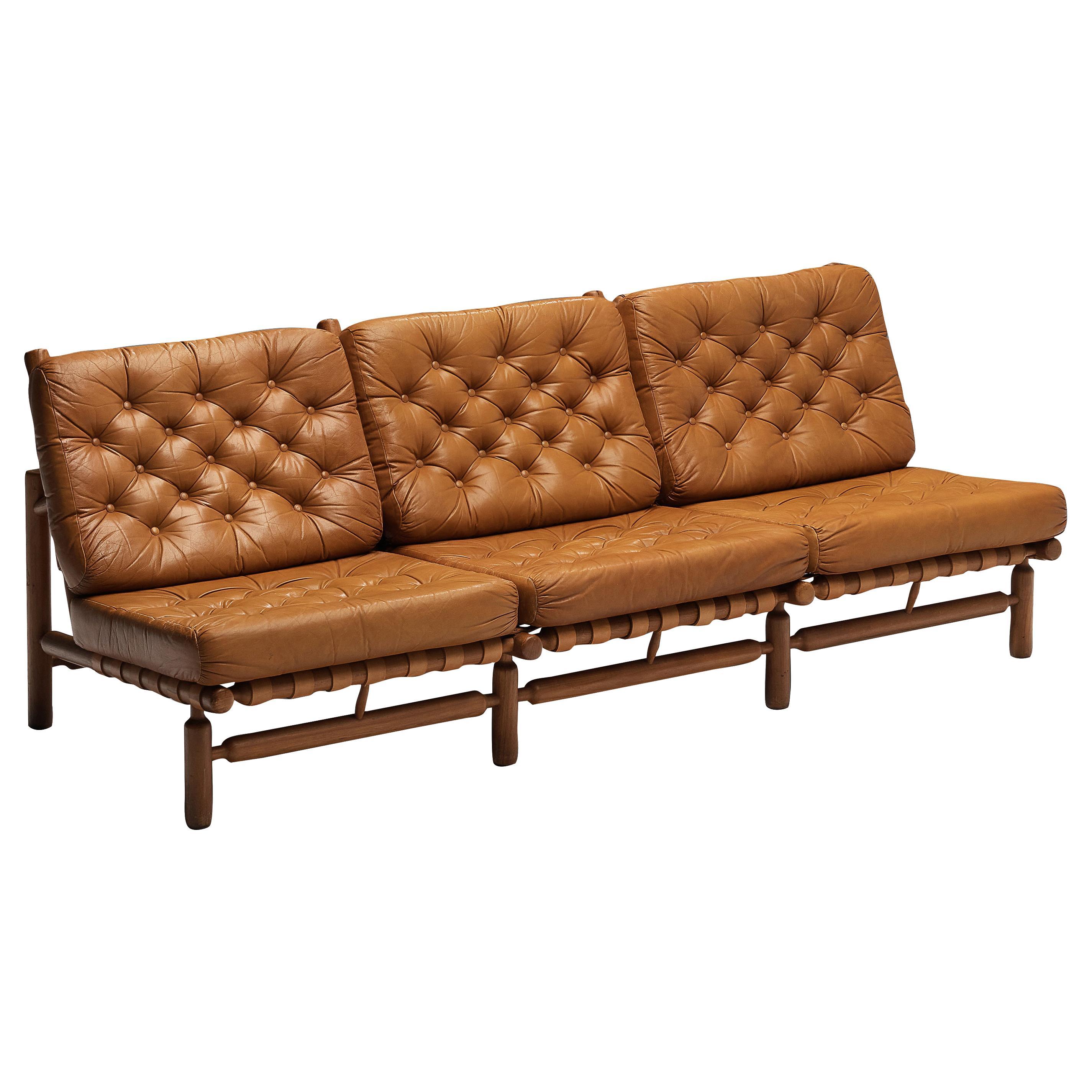 Ilmari Tapiovaara Sofa in Cognac Leather