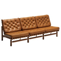 Ilmari Tapiovaara Sofa in Cognac Leather