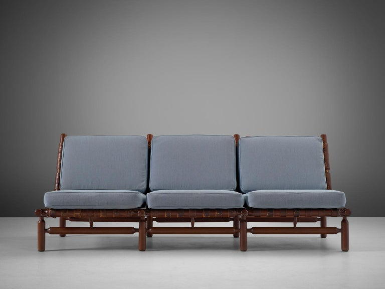 Mid-Century Modern Ilmari Tapiovaara Three-Seat Sofa with Leather Straps For Sale