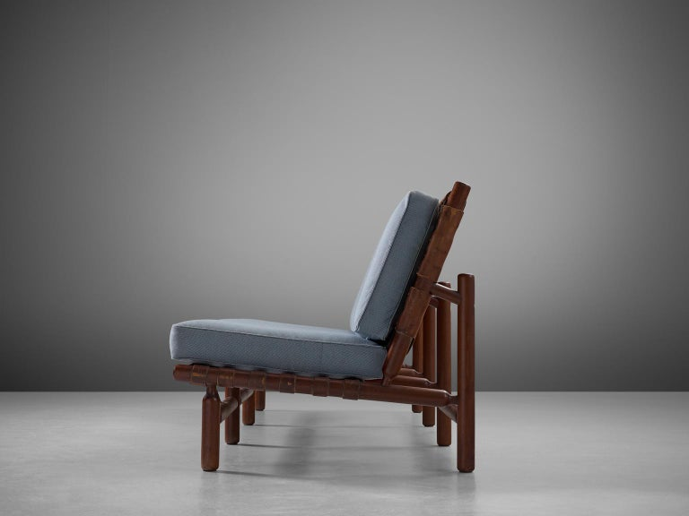 Finnish Ilmari Tapiovaara Three-Seat Sofa with Leather Straps For Sale