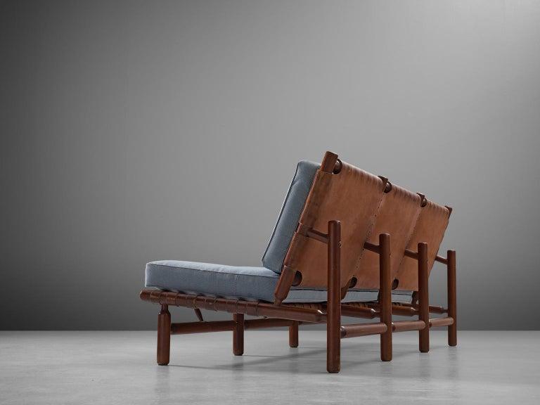 Ilmari Tapiovaara Three-Seat Sofa with Leather Straps In Good Condition For Sale In Waalwijk, NL
