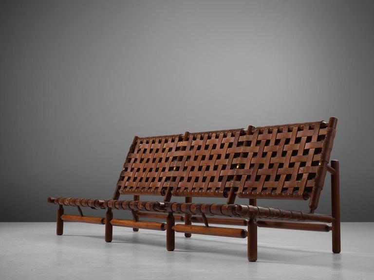 Mid-20th Century Ilmari Tapiovaara Three-Seat Sofa with Leather Straps For Sale
