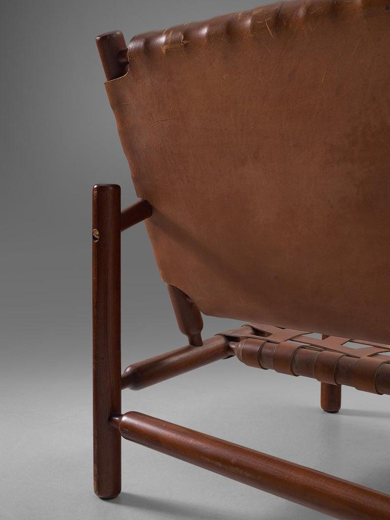 Ilmari Tapiovaara Three-Seat Sofa with Leather Straps For Sale 1