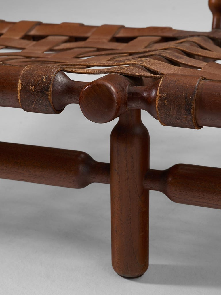Ilmari Tapiovaara Three-Seat Sofa with Leather Straps For Sale 2