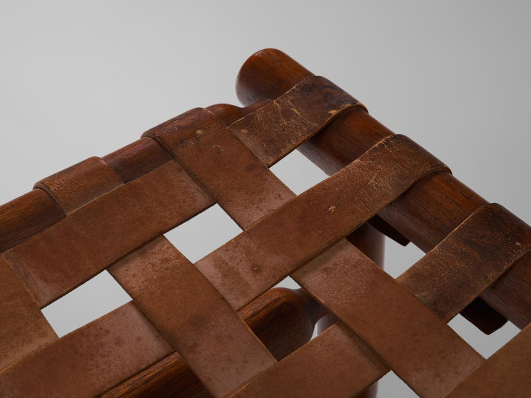 Ilmari Tapiovaara Three-Seat Sofa with Leather Straps For Sale 3