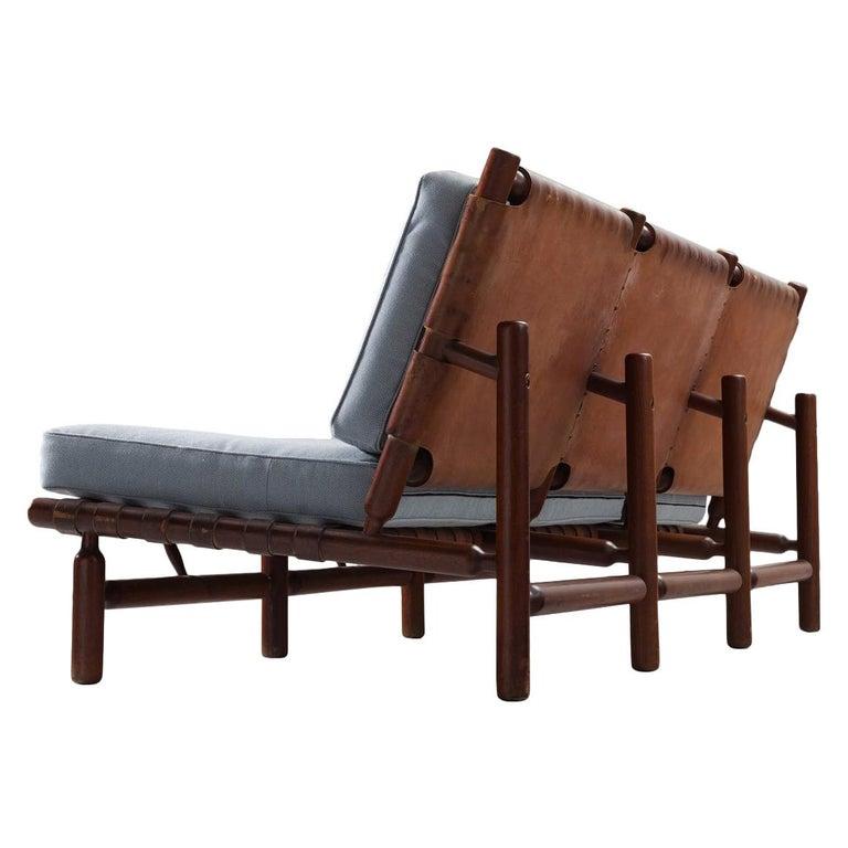 Ilmari Tapiovaara Three-Seat Sofa with Leather Straps For Sale
