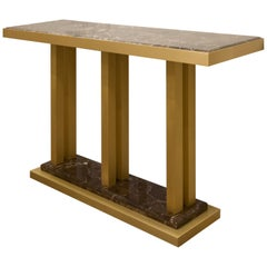 Ilustre Console with Marron Emperador Marble Top and Brushed Brass Structure