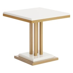 Ilustre Side Table with Antique Brass Structure