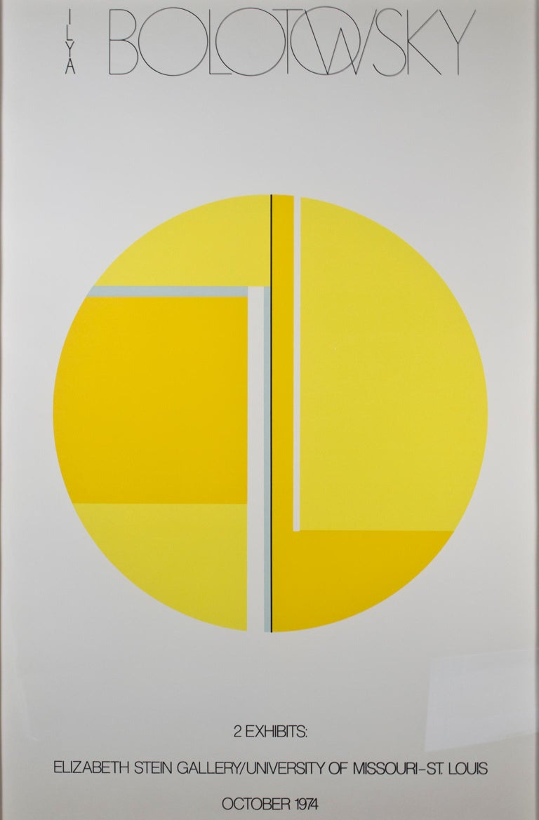 """Elizabeth Stein Gallery A/P"" is a color lithograph poster by Ilya Bolotowsky. This piece features an abstract and geometric design in yellow.   40"" x 26""   Born in Russia in 1907, Ilya Bolotowsky left his native country in his early childhood. The"