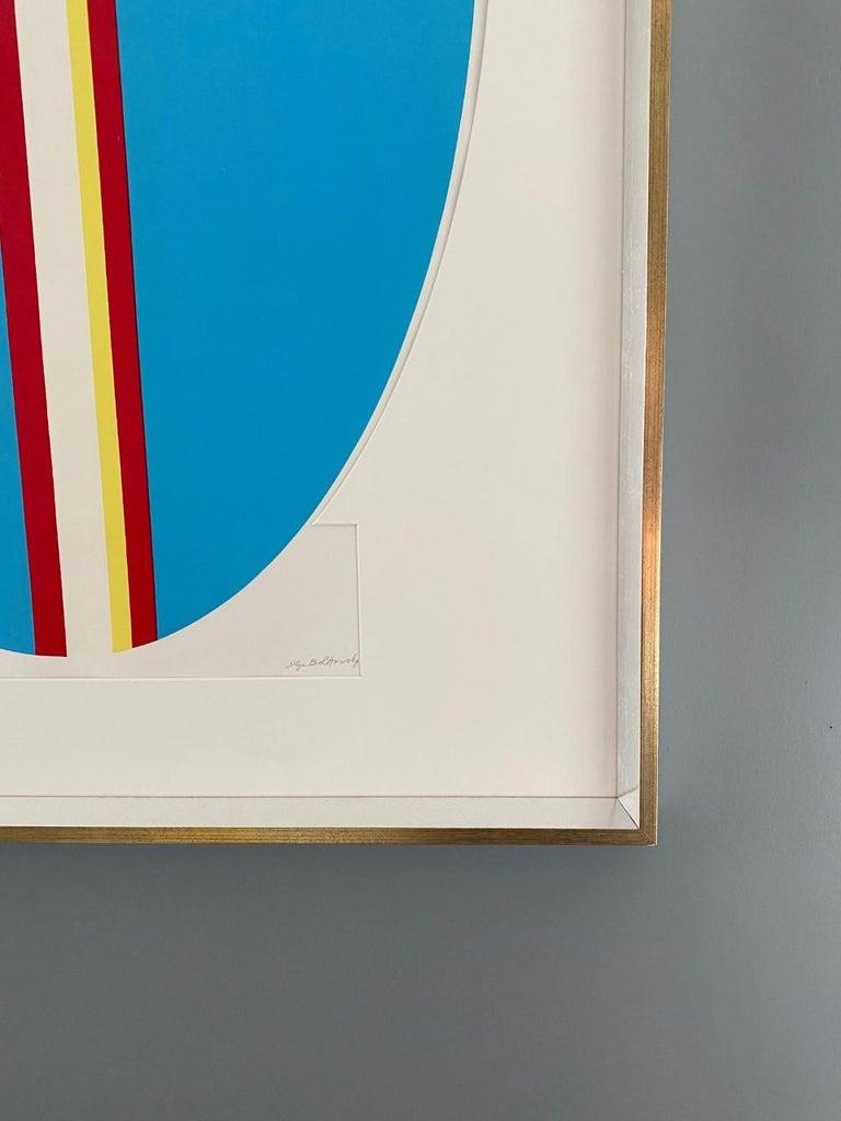 Ilya Bolotowsky Signed Modernist Silkscreen Vertical Blue Ellipse Series For Sale 3