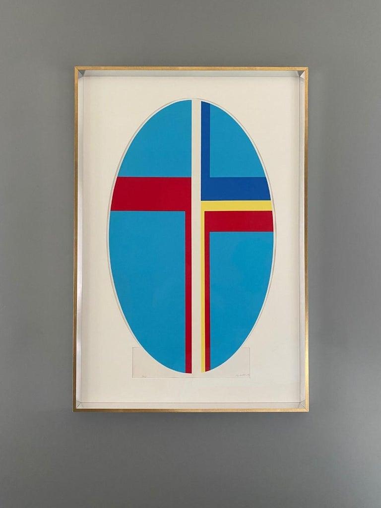 Ilya Bolotowsky Signed Modernist Silkscreen Vertical Blue Ellipse Series For Sale 4