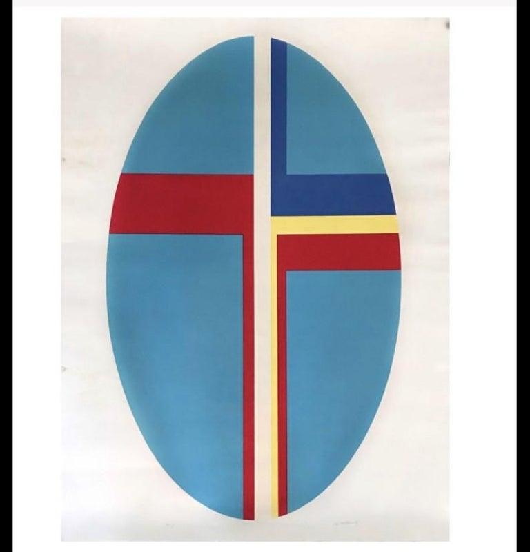 Ilya Bolotowsky Signed Modernist Silkscreen Vertical Blue Ellipse Series For Sale 5