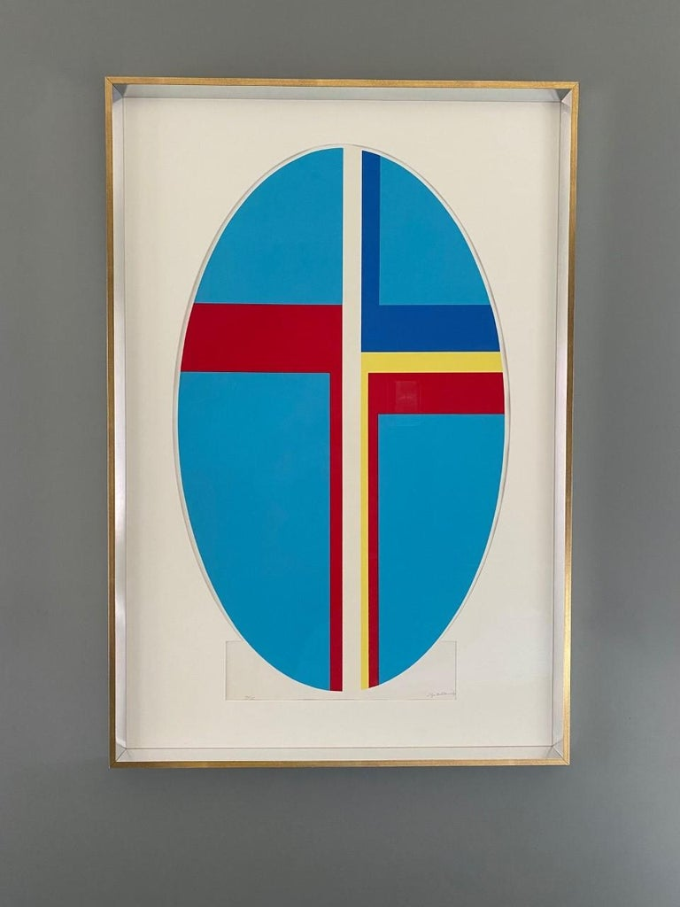 """Incredibly graphic piece, signed by Ilya Bolotowsky (American, 1907-1981) from the early 1970s. Signed Silkscreen part of the vertical blue ellipse blue series. Silkscreen on Rives paper. Edition 70/135. Signed in pencil. Framed: 45.5"""" H x 30.5"""" W."""