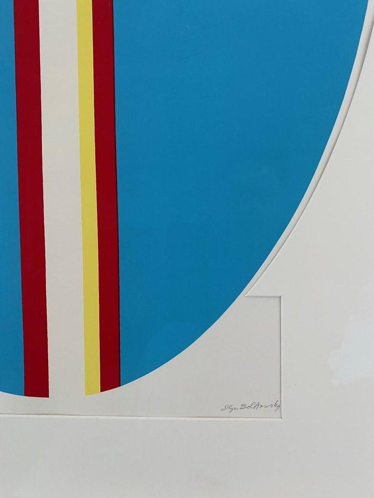 American Ilya Bolotowsky Signed Modernist Silkscreen Vertical Blue Ellipse Series For Sale