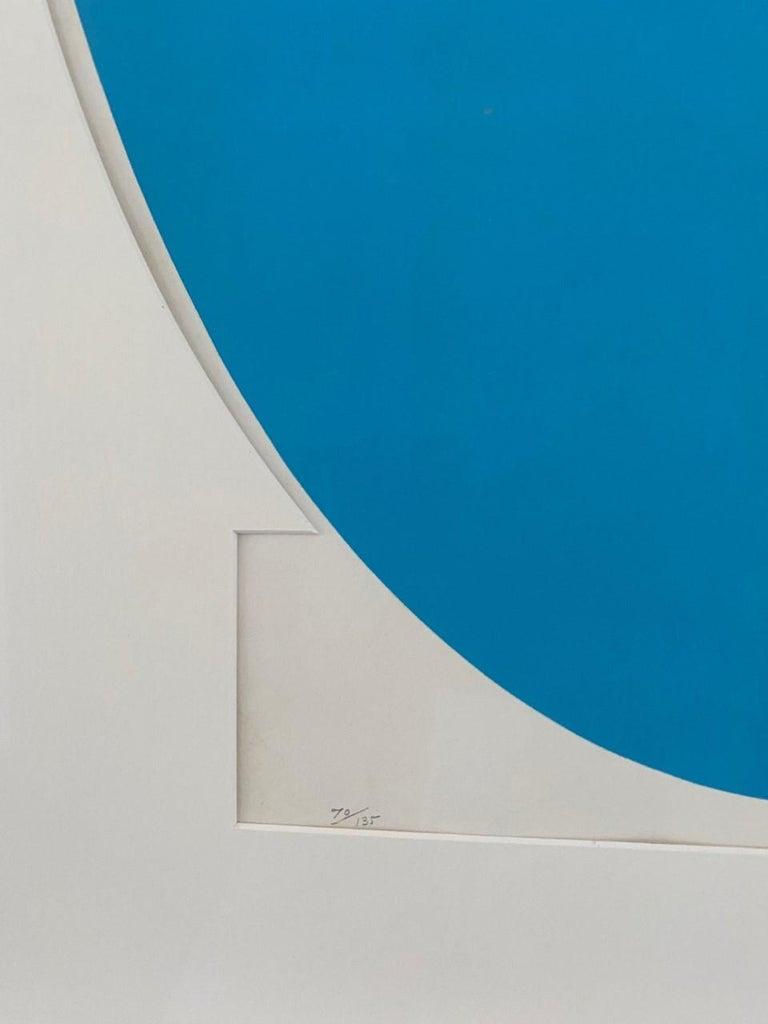 Pressed Ilya Bolotowsky Signed Modernist Silkscreen Vertical Blue Ellipse Series For Sale