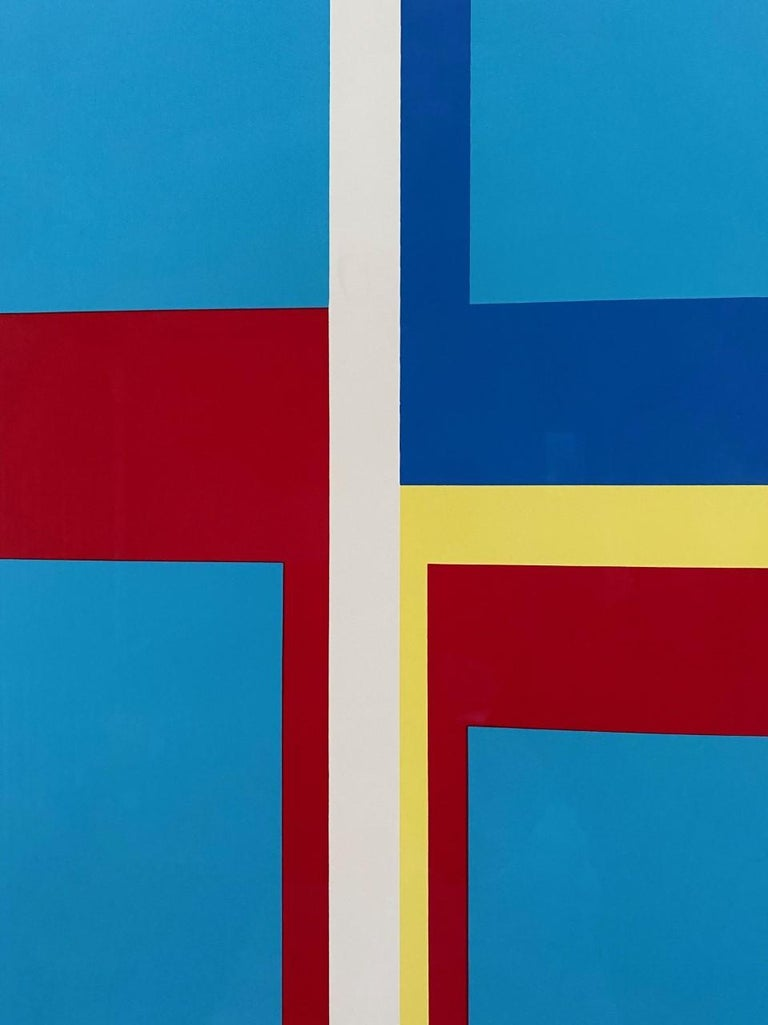 Ilya Bolotowsky Signed Modernist Silkscreen Vertical Blue Ellipse Series In Good Condition For Sale In San Diego, CA