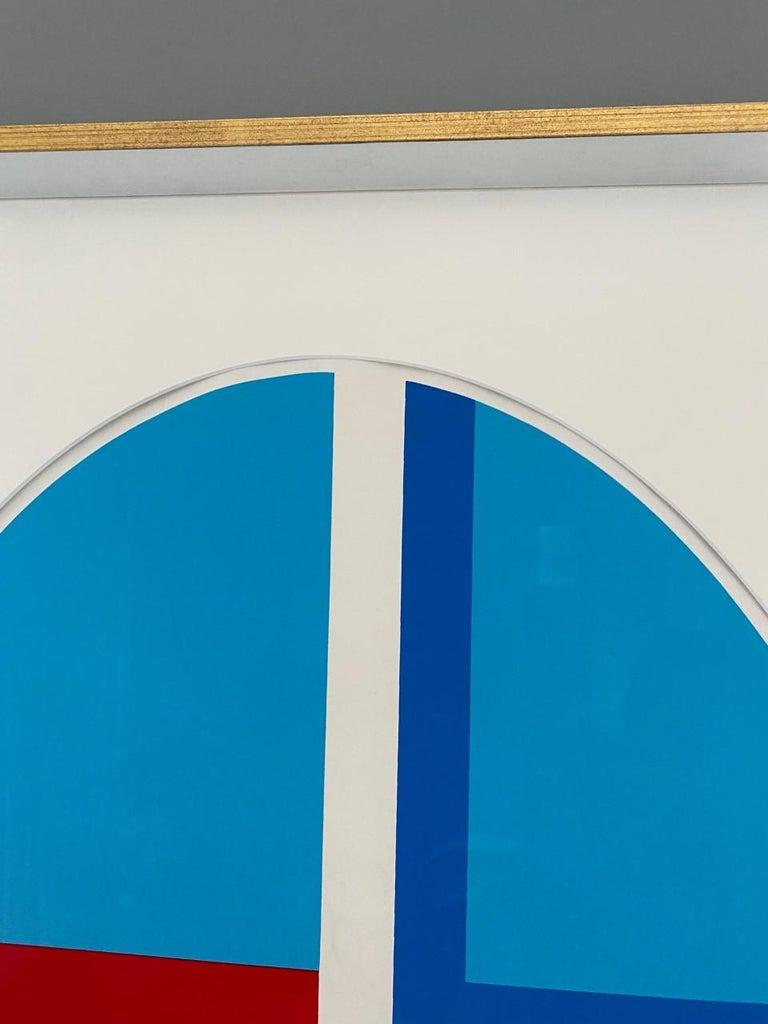 Late 20th Century Ilya Bolotowsky Signed Modernist Silkscreen Vertical Blue Ellipse Series For Sale