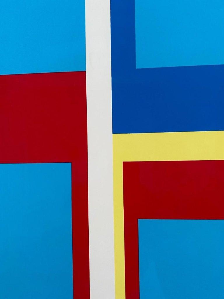 Paper Ilya Bolotowsky Signed Modernist Silkscreen Vertical Blue Ellipse Series For Sale