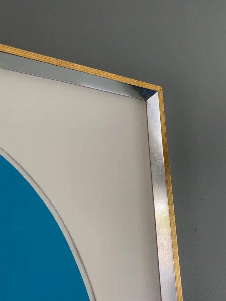 Ilya Bolotowsky Signed Modernist Silkscreen Vertical Blue Ellipse Series For Sale 1