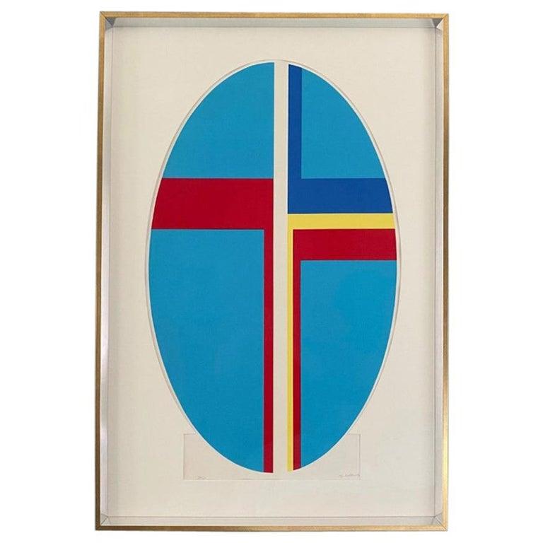 Ilya Bolotowsky Signed Modernist Silkscreen Vertical Blue Ellipse Series For Sale