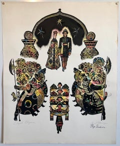 Post Soviet Avant Garde Russian Woodcut Print With Hand Watercolor Painting