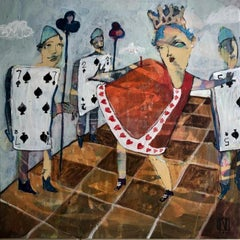 """Her Majesty"" abstract oil painting of the Queen of Hearts with card soldiers"