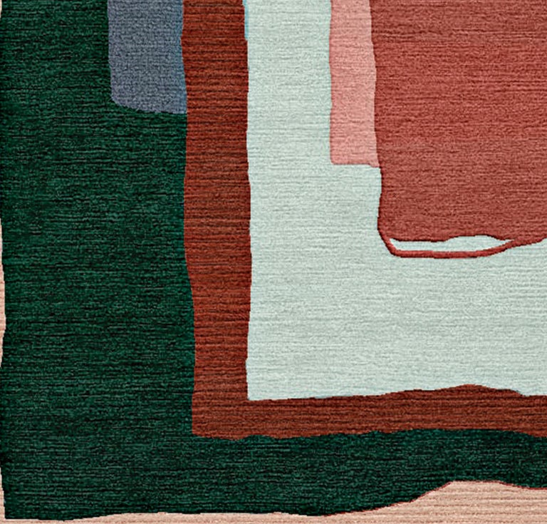 Nepalese I'm Fernand And This Is Nadia Hand-Tufted Wool and Viscose Rug For Sale