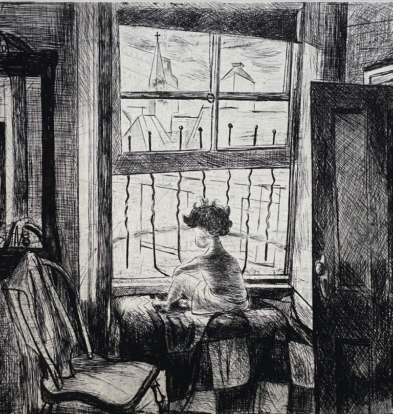 Paper Images of Children Etching Entitled